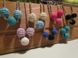 Felt ball necklaces
