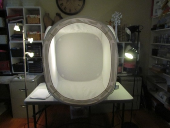 light tent with lights on