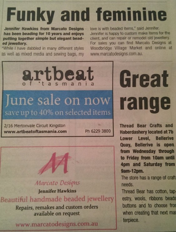 My ad and shortened editorial in the Kingborough Chronicle out today.